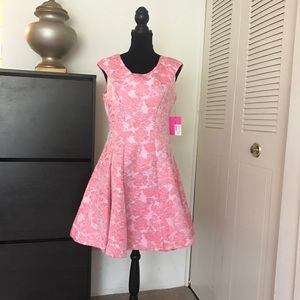 Betsey Johnson Floral Short Pink & Ivory Dress Sz8